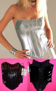 NWT Leg Avenue boned PVC Vinyl shaping Bustier with lace up back S,L,Black