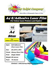 A4 Clear Glossy Laser Printable Self Adhesive Sticker label film 10 Sheets