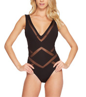Kenneth Cole Black Mesh Plunge One Piece Swimsuit Women's Size S 48413