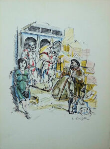 """Léonard FOUJITA - """"LES HALLES"""", 1963. LITHOGRAPHIE originale signée au crayon"""