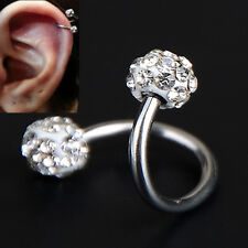 Rhinestone Stainless Steel Twist Ear Helix Cartilage Earring Stud Body Piercing