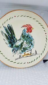 "Rooster Plate Williams Sonoma 9"" Salad Dessert Made in Italy Rare Retire Ceramic"