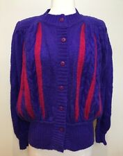 DE CRESPI Vintage 1980's Soft Mohair Blend Purple & Pink Long Sleeve Cardigan M