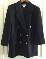 Ladies Classic Pendleton Wool Black Blazer Jacket Metal Buttons USA Size 8