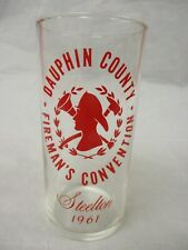 Vintage Fire Department Glass 1961 Dauphin County  Convention Steelton PA
