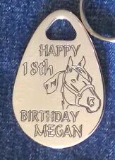Personalised HORSE/PONY birthday keyring ANY NAME AGE engraved gift custom made