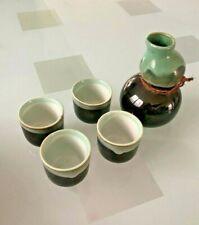 MIYA Japan tea set Black Teal with cups and tea strainer gift set New
