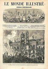 POMPIER INCENDIE PARIS Opéra Le Peletier 1873 GRAVURE ANTIQUE PRINT