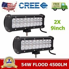 2X 9'' 54W LED Work Light Bar Flood Beam Offroad Driving ATV 4x4 UTE Truck Ford