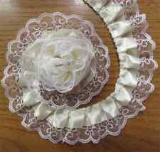 5 Yards 2-layer Pleated Organza Lace Edge Trim Gathered Mesh Ribbon Sewing Craft