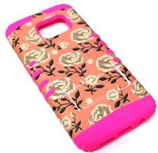 for Samsung Galaxy S7 Flower Rose Peach Hot Pink Rubber HybridKoolkase Skin Case