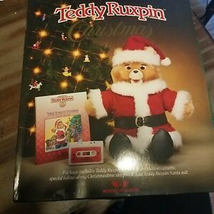 Teddy Ruxpin Christmas Set, Cassette, Storybook, and Santa Suit 1985