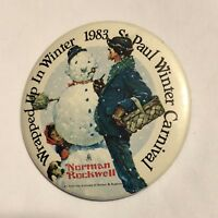 1983 Saint Paul Winter Carnival Norman Rockwell Pinback Button Pin 2-1/4""