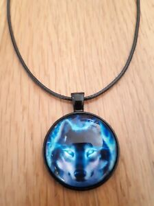 Wolf head spiritual wicca magic pendant necklace black gift leather Northic