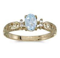Aquamarine and Diamond Victorian Style Band 10K Yellow Gold Ring