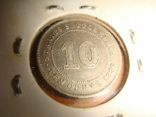 Straits Settlements 1886, Queen Victoria 10 Cents, 800/1000 Silver GVF