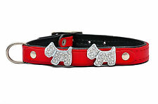 Real LEATHER DOG PUPPY COLLAR Rhinestones Doggie Bling red pink blue black
