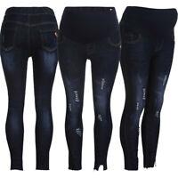Women Pregnancy Ripped Jeans Maternity Long Pants Denim Trousers Belly Leggings