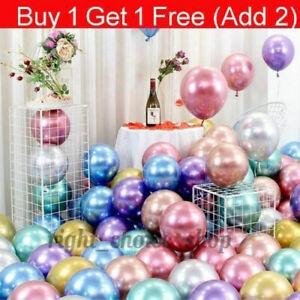 "10-50 CHROME BALLOONS METALLIC LATEX PEARL 10"" Helium/Air Wedding Birthday Party"