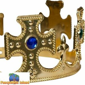 MEDIEVAL LEGEND KING & QUEEN'S GOLD CROWN Adults Mens Ladies Fancy Dress