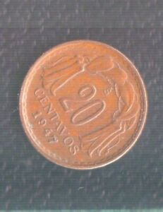 CHILE 20 CENTS 1947