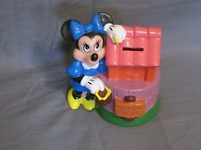 Vintage Disney Minnie Mouse Wishing Well Plastic Piggy Coin Bank with stopper