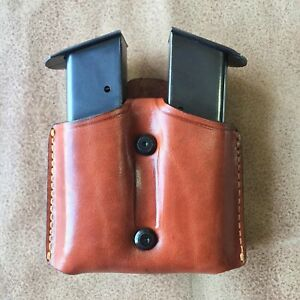 D004 Leather Double Magazine Pouch/Case/Carrier for Colt 1911 Handmade!