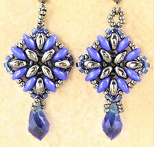 Earrings Cobalt Crystal Teardrop Square Glass Blue Super Duo Hematite Super Duo