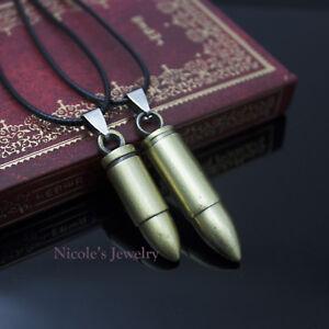 Antique Gun Bullet Shape Men Women Pendant Band Necklace NF171