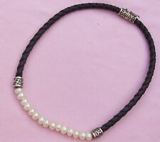 Vintage Sterling Silver Bead Braided Black Leather White Pearl Choker Necklace