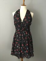 HELL BUNNY Black Sailor Jane Marina Tattoo Print Dress XL Halter Pinup Rockabill