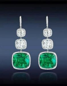 27ct Long Earring Solid 925 Sterling Silver Green Cushion Halo Wedding Jewelry