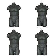 4 Male Mannequin Form,Hard Plastic Manikin Display Torso Men T-Shirt - Black