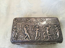 ART NOUVEAU REPOUSSE GEORGE NATHAN & RIDLEY HAYES STERLING SILVER SNUFF BOX 1905