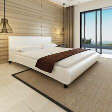 vidaXL Bedframe Bolvormig Kunstleer Wit 180x200 cm Bed Bedden Slaapkamer