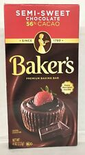 Baker's Semi Sweet Baking Chocolate Bar 4 oz  Bakers