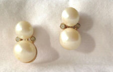 Pearl & Rhinestone Drop Graduated Size Pierced Earrings Gorgeous Classy