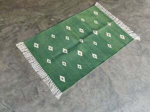 Cotton Yoga Diamond Rug Rag 2'x3' Handwoven Kilim Flat Weave Prayer Yoga Durrie