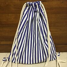 Cotton Linen Drawstring Travel Backpack Student Book Bag Navy Blue Line B06 E