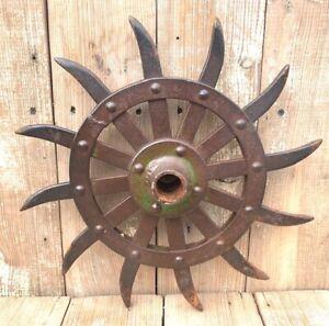 Old Vintage Rotary Cultivator Hoe Wheel w/ Hub Farm Industrial Decor Sunflower