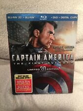 Captain America: The First Avenger (Blu-ray 3D Disc,Blu-ray Disc,DVD)W/Slipcover