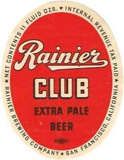 V2 1939 IRTP CALIFORNIA San Francisco RAINIER CLUB BEER  11oz Label Tavern Trove