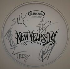 Rare! NEW YEARS DAY Autographed Drumhead by All! Ashley Costello!