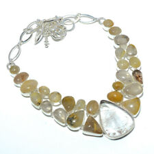 """Golden Rutilated Quartz - Bahia 925 Sterling Silver Jewelry Necklace 17.99"""" T773"""