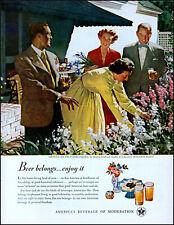 1949 Douglass Crockwell art Flower Garden U.S. Beer Brewers vintage print ad L64