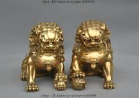 "7""Lucky Chinese Brass Fengshui Evil Guardian Door Foo Dog Lion Beast Statue Pair"