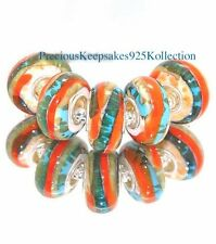 "*ONE~""Desert Swirl"" Murano Glass Bead Sterling Silver non thread core"