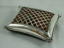 More details for large sterling silver cushion shaped pin cushion, 1908