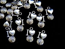 "20 Pcs  Tibetan Silver "" I Love Football "" Charms Sport Kids Adult Jewellery S12"