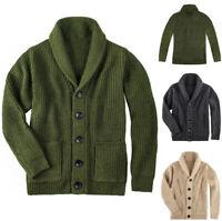 Herren Schalkragen Strickjacke Pullover Zopfmuster Knopf Baumwolle mit Taschen